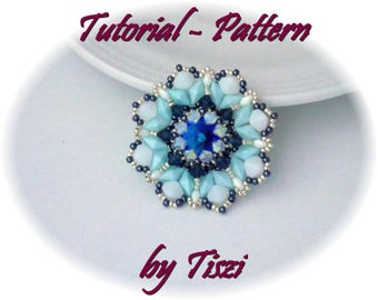 Beading pattern, tutorial for beaded pendant Adelia, with Rulla, DiamonDuo and pressed bicones, PDF instructions, step by step