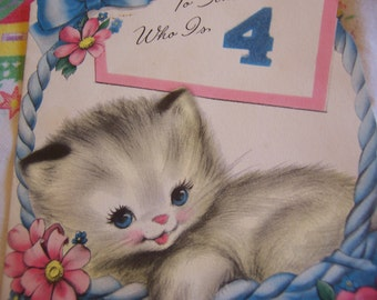 sweet kitty vintage card