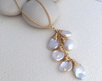 Keshi Pearl Lariat Necklace