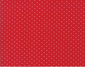 Red and White Polka Dot Fabric - Moda Sugar Plum Christmas - Red Dot Fabric By The 1/2 Yard