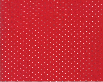 Moda Sugar Plum Christmas Fabric - Red Polka Dot Fabric - Red & White Dot Quilting Fabric By The 1/2 Yard