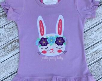 pretty sweet bunny w/ floral crown appliqué shirt, Easter shirt, Easter bunny shirt, monogrammed Easter shirt, personalized Easter shirt