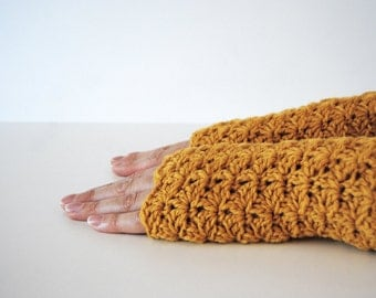 Mustard Yellow fingerless gloves, crocheted, handmade, ready to ship