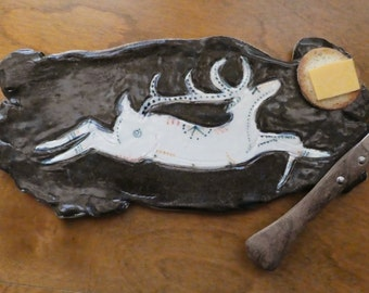 Plate Ceramic Plate Handmade Pottery Tray Porcelain Wildlife Tableware Ceramic Tray Rustic Home Living Animal Spoon Rest Cheese Plate