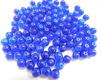 8mm Royal Blue Crackle Glass Beads, Glass Beads, 8mm Beads, Beads for jewelries, Crackle glass beads, Beads, Pink Green Beads