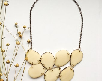 Tagua Necklace. White Necklace. Cream Necklace. READY TO SHIP. Off white Necklace. Fair trade jewelry. Sela Designs. Winter Whites Necklace