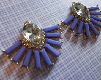 Retro Charms - Purple Starburst Charms - Rhinestones in Gold Setting - 38X32mm - Qty 2