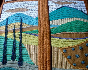 OOAK Embroidery Textiles Tapestry Fiber art Tuscany Landscape Decorative Arts Wall Hangings Modern Art Handmade Embroidery Tuscan Window