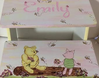 Pooh and Piglet, Steps & Stools, Kids furniture, Bathroom Stool, Kids and Children, Nursery Decor, PINK, Footstool,