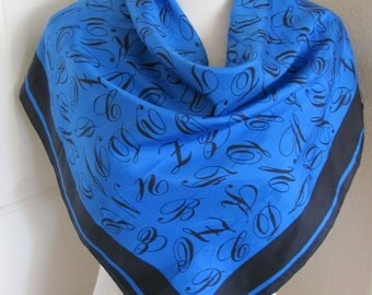 """Beautiful Blue Soft Silk Scarf // 29"""" Inch 73cm Square // Best of the Best"""