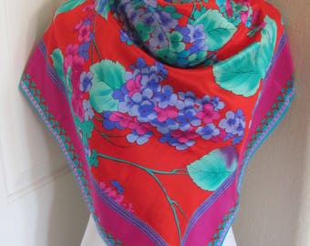 """Liz Claiborne // Lovely Colorful Red Soft Silk Scarf  // 31"""" Inch 78cm Square"""