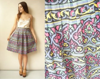 JAEGER Vintage 1980's Floral Pattern High Waisted Midi Full Skirt Size XS