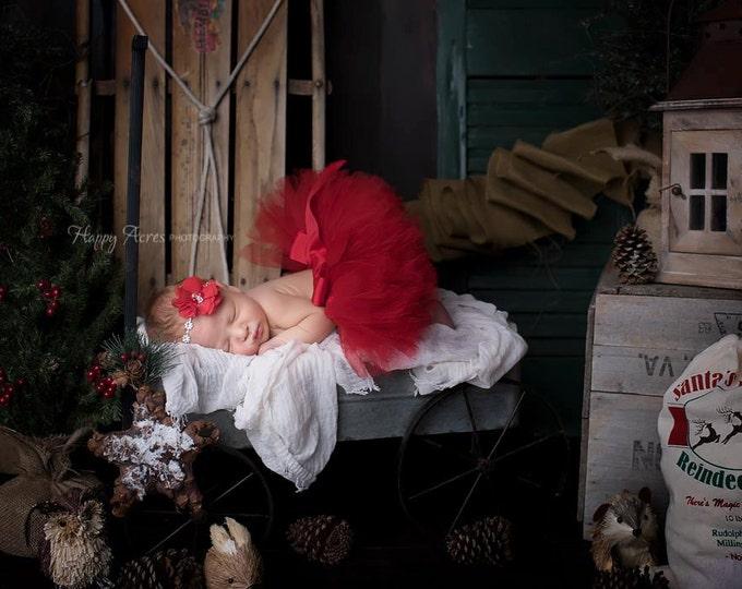 Featured listing image: Red Baby Tutu, Christmas Tutu, Red Tutu and Headband, Newborn Photography Prop, Baby Girl Prop, Tutu Skirt, Christmas Prop