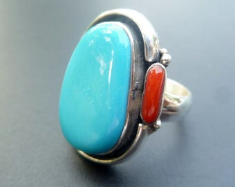 Handmade Sterling Silver Turquoise and Red Coral Statement Ring - One of a Kind Boho Turquoise Statement Ring - Big Turquoise - Size 8.5