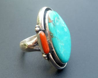 Boho Turquoise Statement Ring - Handmade Sterling Silver and Boho Style Turquoise Statement Ring - Turquosie and Red Coral Ring - Size 8.25