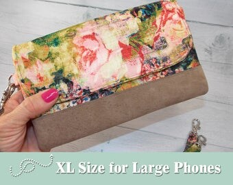 Large Cell Phone Wallet • Extra Large Double Zip Wristlet Wallet with Leather Trim and Wrist Strap • Choose Your Fabric • iPhone • XL Wallet