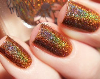 "Nail polish - ""On The Bench"" caramel brown linear holographic polish with gold holo glitter"