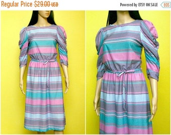 FALL SALE 15% OFF Vintage 80s striped pastel dress ruched sleeves (small - medium)