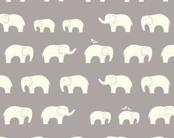 Grey and Cream Elephant Family Organic Cotton Double Gauze For Birch Fabrics, 1 Yard