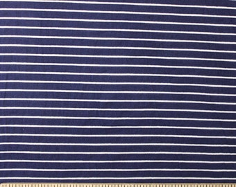 Navy Blue and White Stripe Brushed Poly Spandex Knit, 1 yard