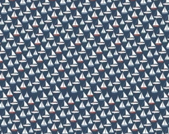 Navy Blue Red and White Sailboat Fabric, By the Sea By Dani Mogstad for My Minds Eye for Riley Blake, Sea Boat in Navy, 1 Yard