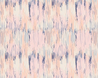 Peach Blue and White Abstract Stripe Fabric, Wonderful Things by Bonnie Christine for Art Gallery Fabrics, Daydream Sigh, 1 Yard Cotton