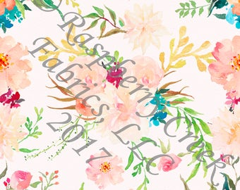 Peach Teal Yellow and Green Watercolor Floral 4 Way Stretch FRENCH TERRY Knit Fabric, By Melissa Hruban for Club Fabrics