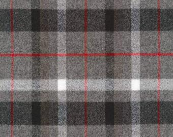 Grey Black and Red Plaid Flannel, 1 Yard