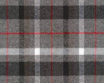 Grey Black and Red Plaid Robert Kaufman Mammoth Flannel, 1 Yard