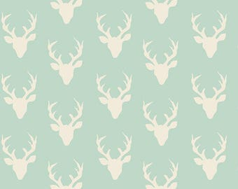 Tiny Mint and Cream Deer Head Antler Jersey Knit Fabric, Hello Bear by Bonnie Christine for Art Gallery Fabrics, 1 yard Jersey KNIT