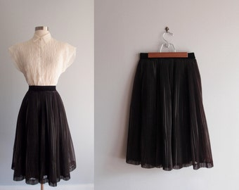 1950s black chiffon micro pleat pleated full party skirt ... 24 to 29 waist