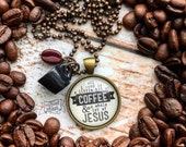 BLACK MUG all i need is a little bit of coffee and a whole lot of Jesus necklace