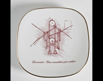 Alitalia Airlines Richard Ginori Leonardo Flying Machine Vintage Porcelain Dish