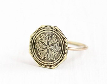 Sale - Antique 10k & 14k Yellow Gold Snowflake Ring - Size 5 3/4 Vintage Art Deco Dated 1917 Fine Octagonal Cufflink Conversion Jewelry