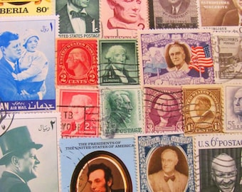 Sexy Prexies 50 Vintage US Presidents Postage Stamps Presidential Election Democrat Republican Independent Vote POTUS US Worldwide Philately