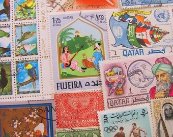 Peace In the Middle East 50 Vintage Middle Eastern Postage Stamps Arab Spring Arabic Muslim Islamic Arabian Sanskrit Worldwide Philately