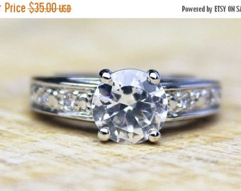 MAYSALE Beautiful Engagement Ring Solitaire Sterling Silver Cubic Zirconia CZ Statement Ladies Jewelery Solid English FREE Shipping Size L.5