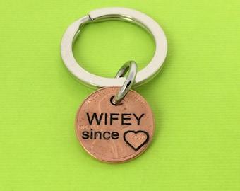 Wifey Since Keychain - Wedding Gift - Personalized Keychain - Hand Stamped - Keychain - Wife ...