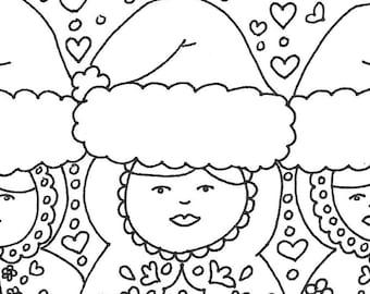 Matryoshka Babushka Happy Holidays printable adult coloring page