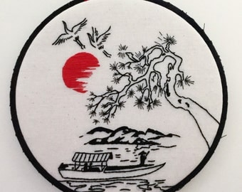 Boat Ride Hand Embroidered Hoop Art