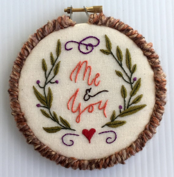 Me & You Hand Embroidered Hoop Art
