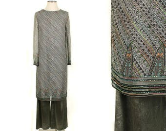 vintage 1970s 80s bohemian tunic & wide leg pant set • designer vintage india inspired