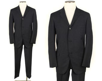 vintage 1960s slim tailored mens suit • size 40
