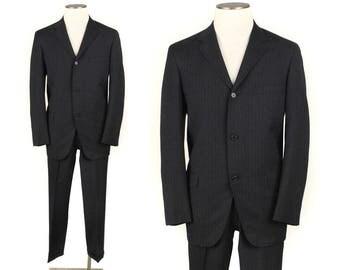 vintage 1960s slim tailored mens suit • size 40