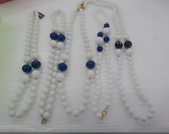 Lot of 5 White Blue and Black Beaded Coro 1980s Necklaces