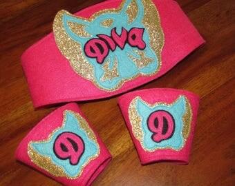 Super Diva Belt with matching Wrist Cuffs / Diva Championship Belt / Girls Diva Belt with Matching Wrist Cuffs / Glitter Belt / Diva Belt