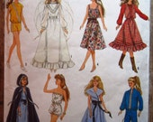 "Vintage 1980s Wardrobe for 11-1/2"" Barbie Type Dolls & 12-1/2"" Darci Dolls Simplicity Pattern 8333 Cut/Complete"