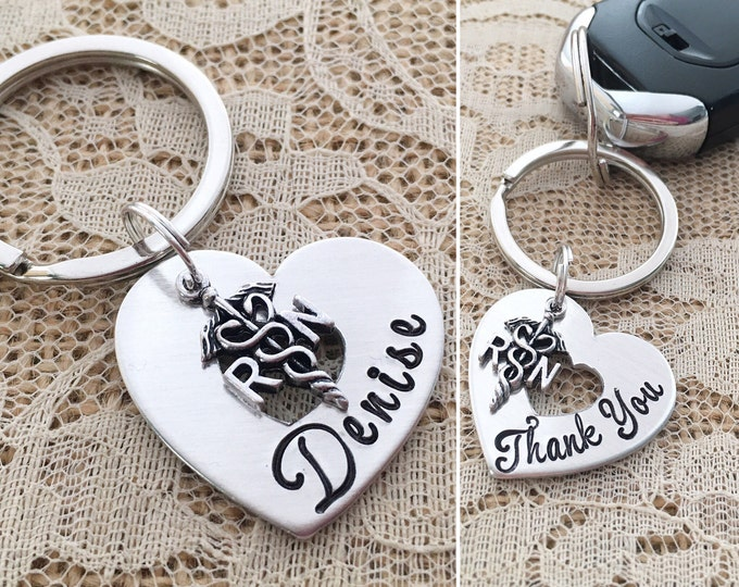 Nurse custom handstamped heart washer keychain with RN charm nursing school