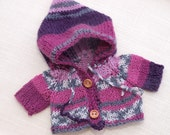 Waldorf Doll Clothes -Hand knitted Pink -Purple - Grey color Hoodie Sweater , fit 9 - 10 inch dolls