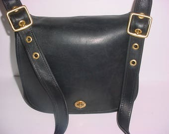 Vintage Coach black leather Stewardess Cross body Messenger bag .